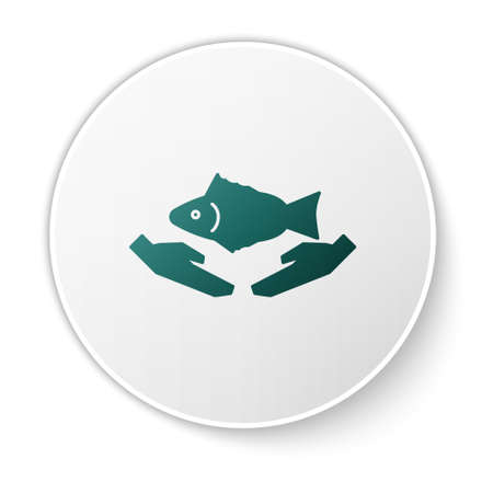 Green Fish care icon isolated on white background. White circle button. Vector Illustration.