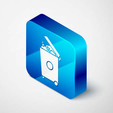 Isometric Trash can icon isolated on grey background. Garbage bin sign. Recycle basket icon. Office trash icon. Blue square button. Vector Illustration.