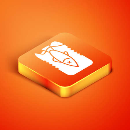Isometric Stop ocean plastic pollution icon isolated on orange background. Environment protection concept. Fish say no to plastic. Vector Illustration.