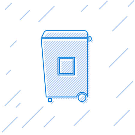 Blue line Trash can icon isolated on white background. Garbage bin sign. Recycle basket icon. Office trash icon. Vector Illustration.