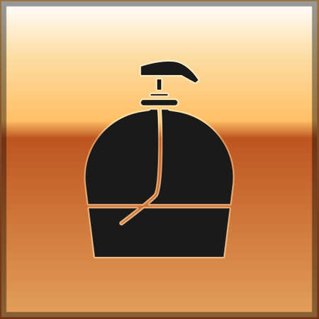 Black Bottle of liquid antibacterial soap with dispenser icon isolated on gold background. Disinfection, hygiene, skin care. Vector Illustration. Vectores
