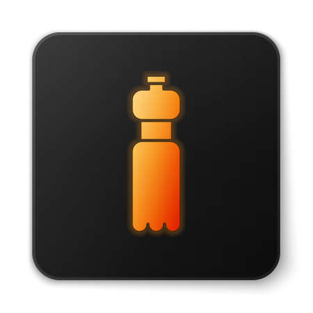 Orange glowing neon Bottle of water icon isolated on white background. Soda aqua drink sign. Black square button. Vector Illustration.
