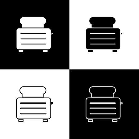 Set Toaster with toasts icon isolated on black and white background. Vector Illustration. Vectores