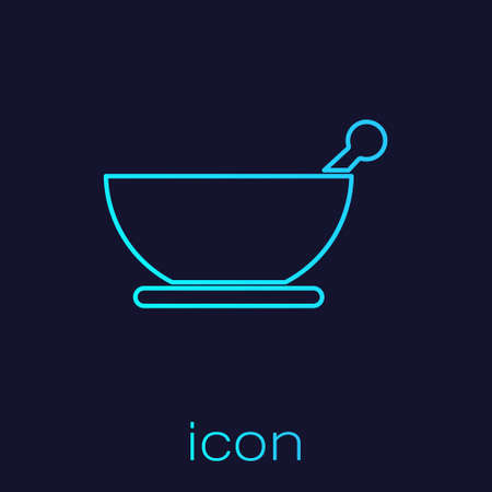 Turquoise line Mortar and pestle icon isolated on blue background. Vector Illustration.
