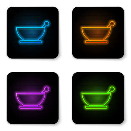 Glowing neon Mortar and pestle icon isolated on white background. Black square button. Vector Illustration.