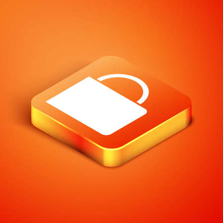Isometric Coffee cup icon isolated on orange background. Tea cup. Hot drink coffee. Vector Illustration.
