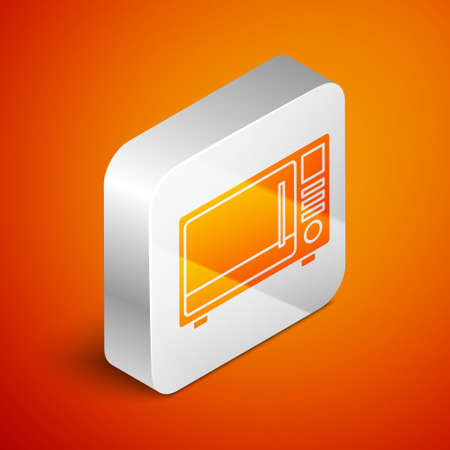 Isometric Microwave oven icon isolated on orange background. Home appliances icon. Silver square button. Vector Illustration.