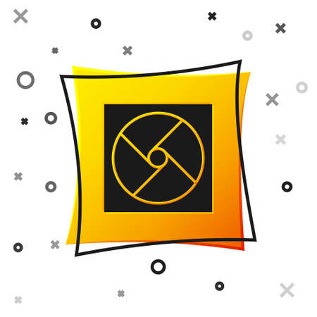Black Ventilation icon isolated on white background. Yellow square button. Vector Illustration.