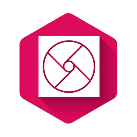 White Ventilation icon isolated with long shadow. Pink hexagon button. Vector Illustration.