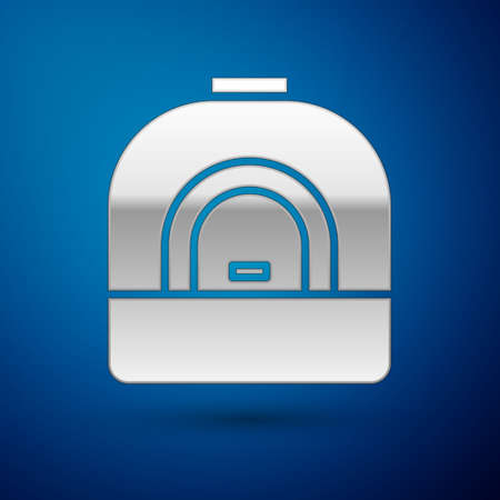 Silver Oven icon isolated on blue background. Stove gas oven sign. Vector Illustration. Illustration