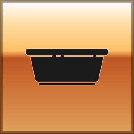 Black Plastic basin icon isolated on gold background. Bowl with water. Washing clothes, cleaning equipment. Vector Illustration.