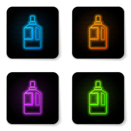 Glowing neon Fabric softener icon isolated on white background. Liquid laundry detergent, conditioner, cleaning agent, bleach. Black square button. Vector Illustration.
