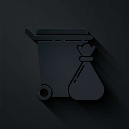 Paper cut Trash can and garbage bag icon isolated on black background. Garbage bin sign. Recycle basket icon. Office trash icon. Paper art style. Vector Illustration.