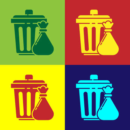 Pop art Trash can and garbage bag icon isolated on color background. Garbage bin sign. Recycle basket icon. Office trash icon. Vector Illustration.