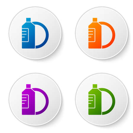 Color Dishwashing liquid bottle and plate icon isolated on white background. Liquid detergent for washing dishes. Set icons in circle buttons. Vector Illustration. Vettoriali