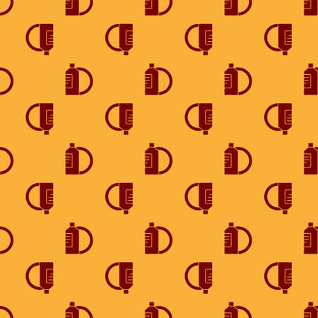 Red Dishwashing liquid bottle and plate icon isolated seamless pattern on brown background. Liquid detergent for washing dishes. Vector Illustration.