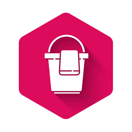 White Bucket with rag icon isolated with long shadow. Cleaning service concept. Pink hexagon button. Vector Illustration. Ilustrace