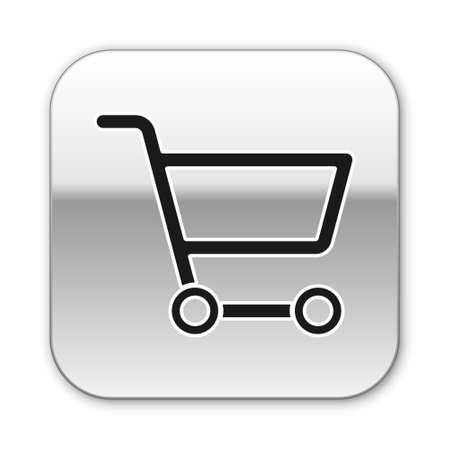 Black Shopping cart icon isolated on white background. Online buying concept. Delivery service sign. Supermarket basket symbol. Silver square button. Vector Illustration.