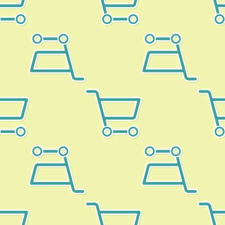 Green Shopping cart icon isolated seamless pattern on yellow background. Online buying concept. Delivery service sign. Supermarket basket symbol. Vector Illustration. Ilustrace