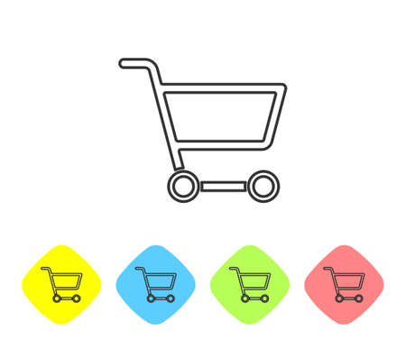 Grey line Shopping cart icon isolated on white background. Online buying concept. Delivery service sign. Supermarket basket symbol. Set icons in color rhombus buttons. Vector Illustration.