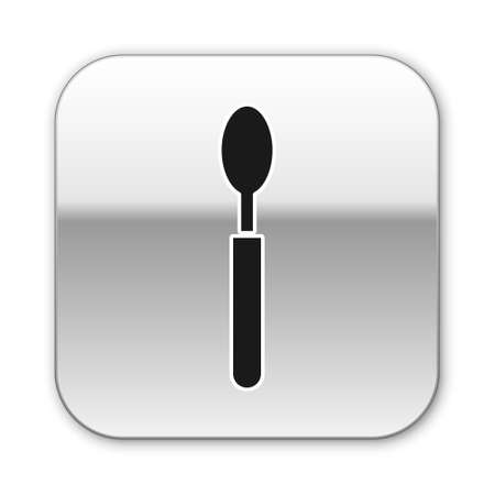 Black Spoon icon isolated on white background. Cooking utensil. Cutlery sign. Silver square button. Vector Illustration.