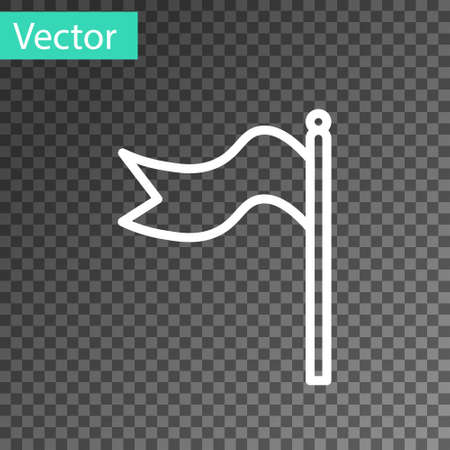 White line Meteorology windsock wind vane icon isolated on transparent background. Windsock indicate the direction and strength of the wind. Vector Illustration.