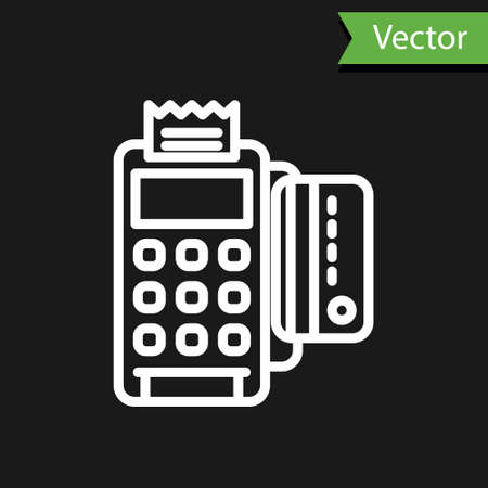 White line POS terminal with inserted credit card and printed reciept icon isolated on black background. NFC payment concept. Vector Illustration. Vectores