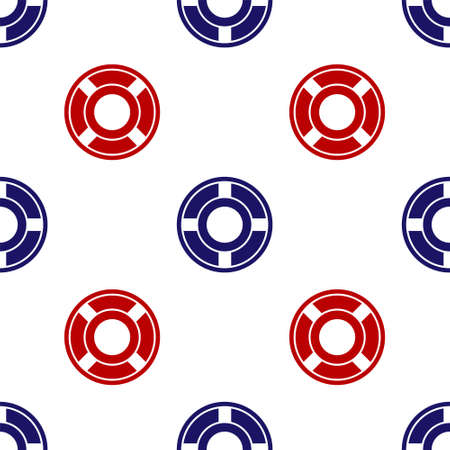 Blue and red Ashtray icon isolated seamless pattern on white background. Vector Illustration.