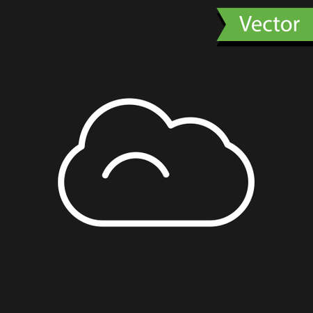 White line Cloud icon isolated on black background. Vector Illustration.