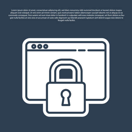 Blue line Secure your site with HTTPS, SSL icon isolated on blue background. Internet communication protocol. Vector Illustration.