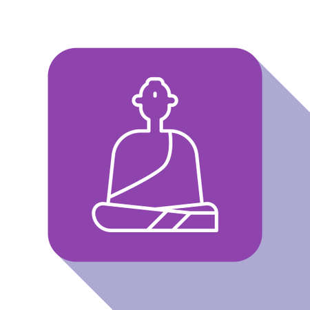 White line Buddhist monk in robes sitting in meditation icon isolated on white background. Purple square button. Vector Illustration.