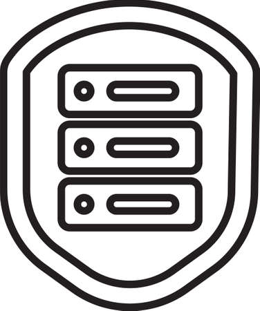 Black line Server with shield icon isolated on white background. Protection against attacks. Network firewall, router, switch, data. Vector Illustration.
