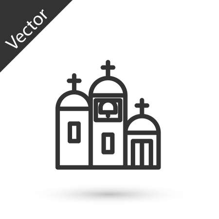 Grey line Church building icon isolated on white background. Christian Church. Religion of church. Vector Illustration.