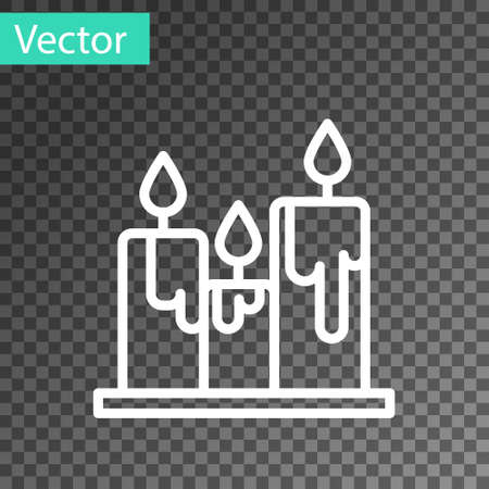 White line Burning candles icon isolated on transparent background. Cylindrical candle stick with burning flame. Vector Illustration.