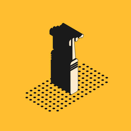 Isometric Tooth drill icon isolated on yellow background. Dental handpiece for drilling and grinding tools. Medical instrument. Vector Illustration.