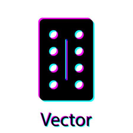 Black Pills in blister pack icon isolated on white background. Medical drug package for tablet, vitamin, antibiotic, aspirin. Vector Illustration.  イラスト・ベクター素材