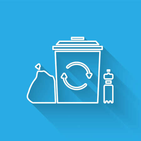 White line Recycle bin with recycle symbol icon isolated with long shadow. Trash can icon. Garbage bin sign. Recycle basket. Vector Illustration.