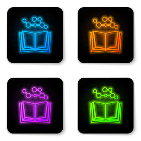 Glowing neon Open book icon isolated on white background. Black square button. Vector Illustration. Vectores