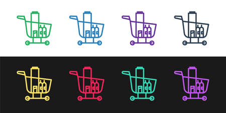 Set line Shopping cart and food icon isolated on black and white background. Food store, supermarket. Vector Illustration.