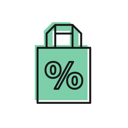 Black line Shoping bag with an inscription percent discount icon isolated on white background. Handbag sign. Vector Illustration. Ilustracja