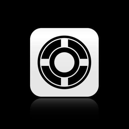 Black Ashtray icon isolated on black background. Silver square button. Vector Illustration.