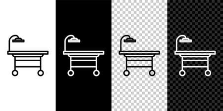 Set line Operating table icon isolated on black and white background. Vector Illustration. Vectores