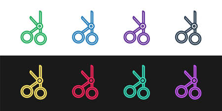 Set line Medical scissors icon isolated on black and white background. Vector Illustration.