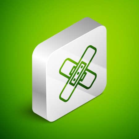 Isometric line Crossed bandage plaster icon isolated on green background. Medical plaster, adhesive bandage, flexible fabric bandage. Silver square button. Vector Illustration.