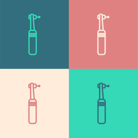 Pop art line Tooth drill icon isolated on color background. Dental handpiece for drilling and grinding tools. Medical instrument. Vector Illustration. 矢量图像