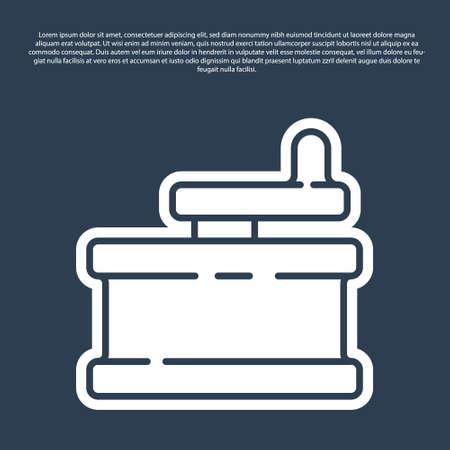 Blue line Manual grinder icon isolated on blue background. Vector Illustration. 向量圖像