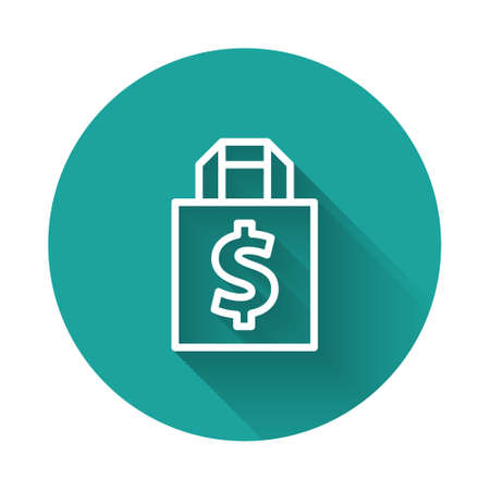 White line Shoping bag and dollar symbol icon isolated with long shadow. Handbag sign. Woman bag icon. Female handbag sign. Green circle button. Vector Illustration.