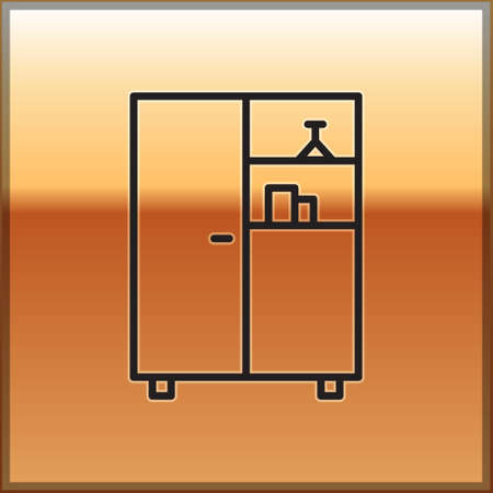 Black line Medicine cabinet icon isolated on gold background. Vector Illustration.  イラスト・ベクター素材