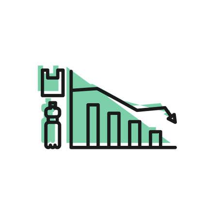 Black line Ecology infographic icon isolated on white background. Vector Illustration. Ilustracja