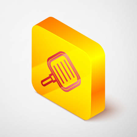 Isometric line Frying pan icon isolated on grey background. Fry or roast food symbol. Yellow square button. Vector Illustration.
